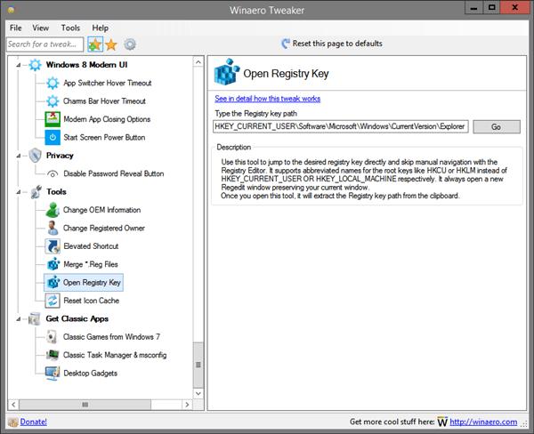Winaero Tweaker Open Registry Key