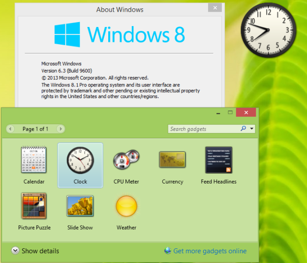 Гаджеты Windows 8