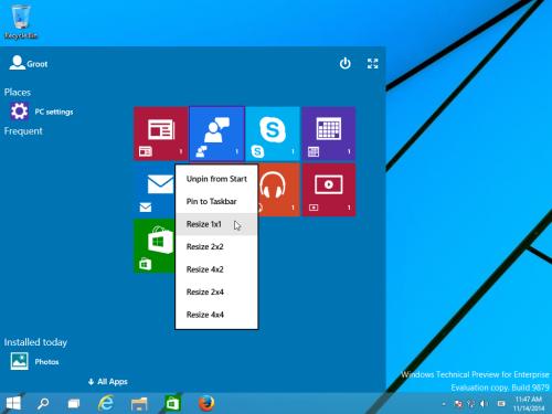 new start screen continuum windows 10