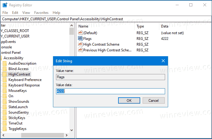 High Contrast Sound Message In Registry