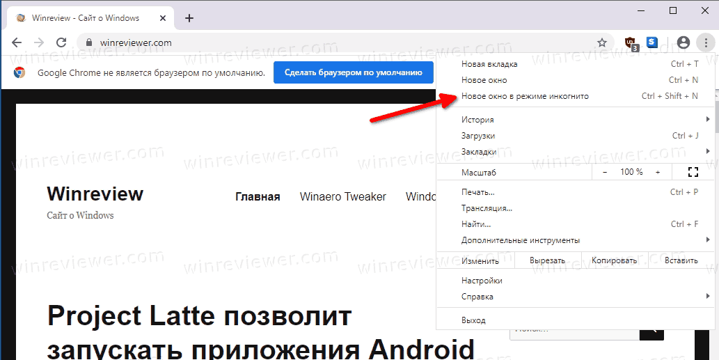 Incognito Mode Enabled In Google Chrome Ru