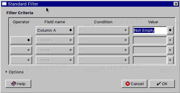 LibreOffice Calc Column Not Empy Filter Condition