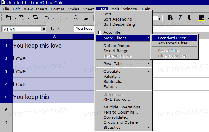 LibreOffice Calc Data More Filters Standard Filter