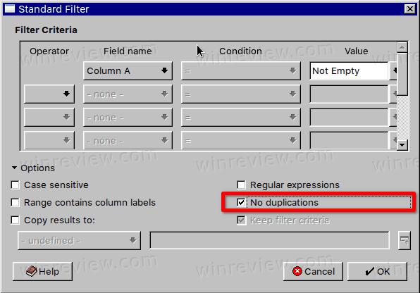 LibreOffice Calc Remove Duplicates