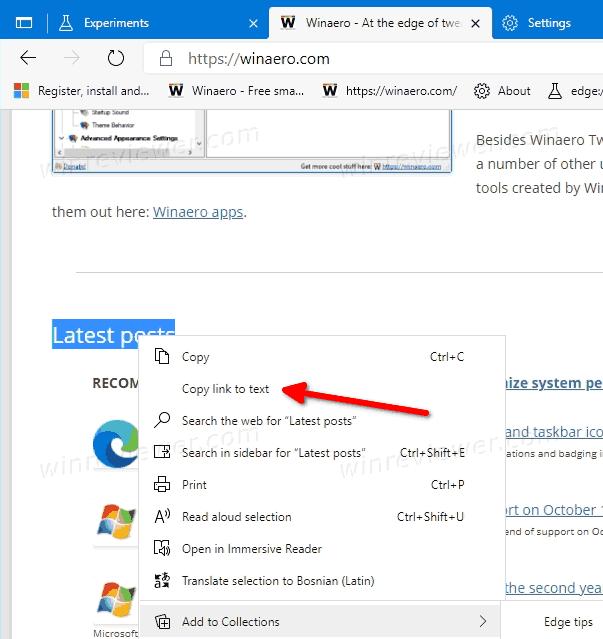 Как создать ссылку на фрагмент текста в Microsoft Edge