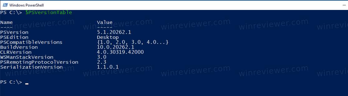 PowerShell Running In Windows 10