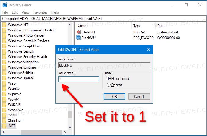 отключить обновления .NET Core