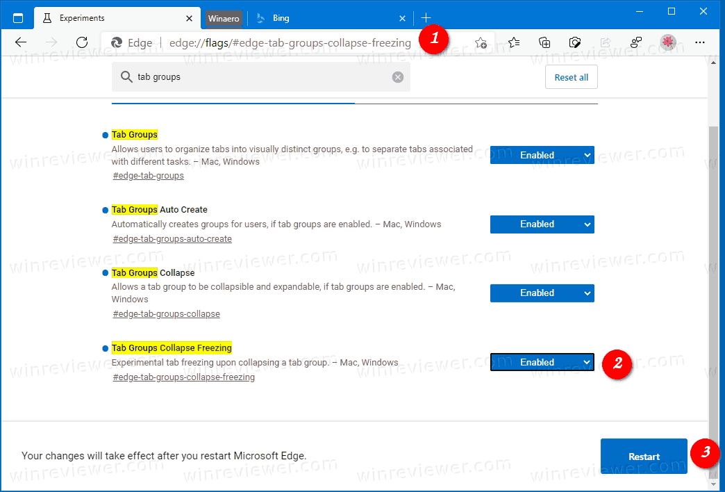 Enable Tab Groups Collapse Freezing In Microsoft Edge