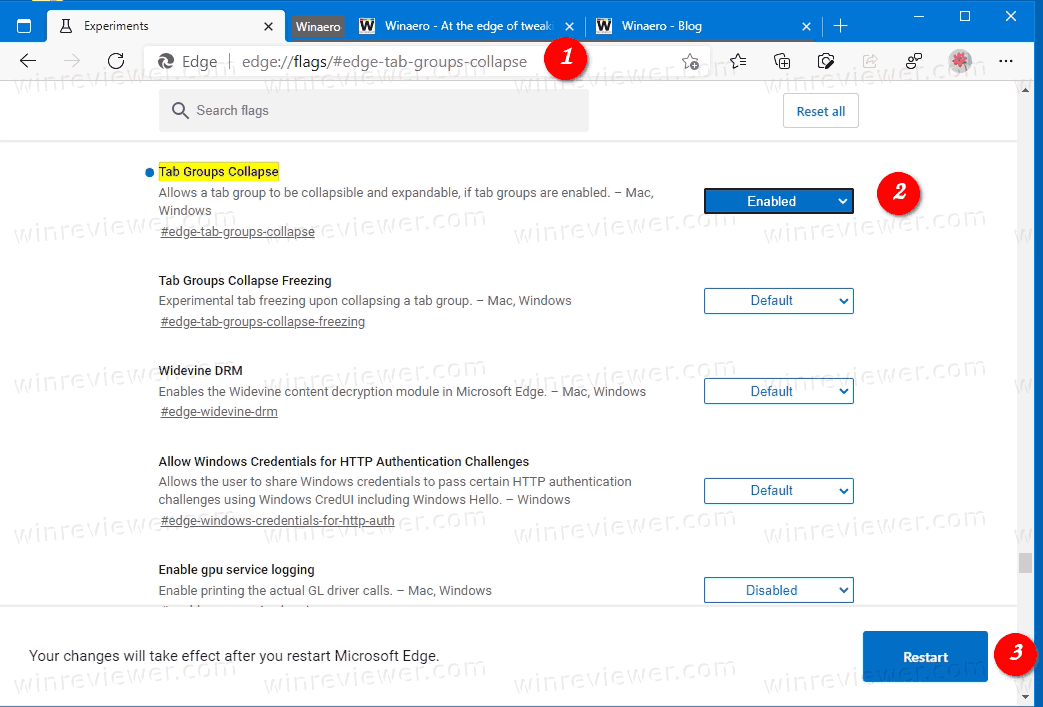 Enable Tab Groups Collapse In Microsoft Edge