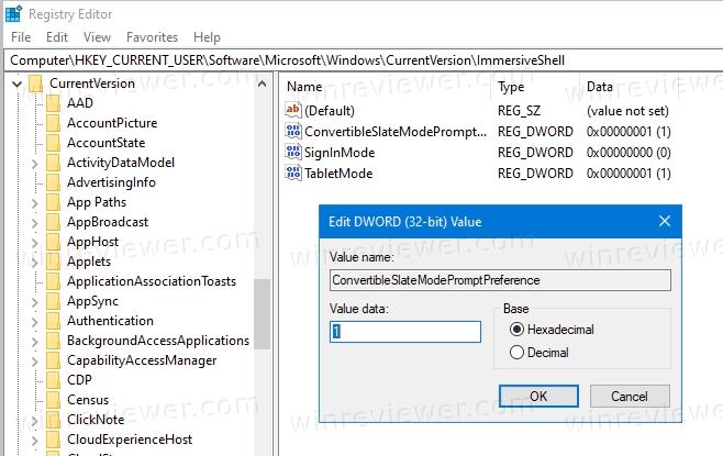 Отключить автоматическое включение режима планшета в реестре
