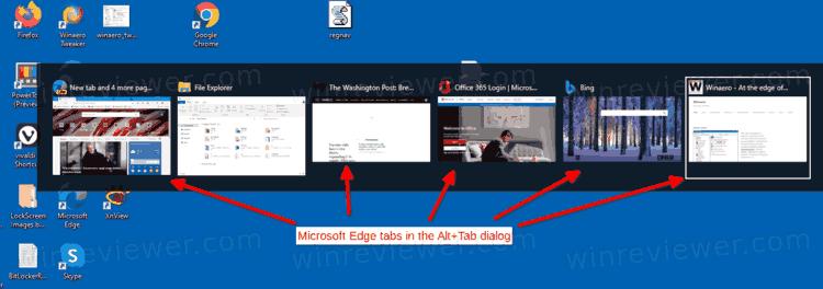 Как отключить вкладки Microsoft Edge в окне Alt+Tab Windows 10