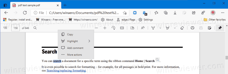 Как включить или отключить мини меню PDF в Microsoft Edge