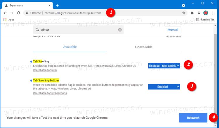 включить кнопки для прокрутки вкладок в Chrome