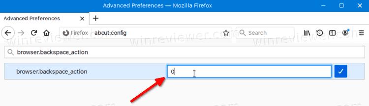 Включить переход назад с помощью Backspace в Mozilla Firefox