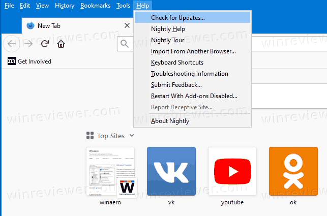 Firefox Check For Updates From Menu