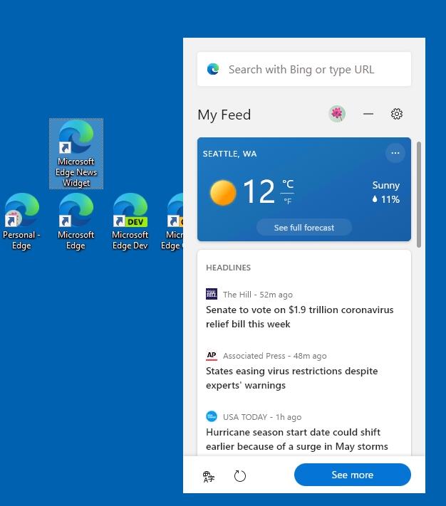 Новостной виджет в Microsoft Edge
