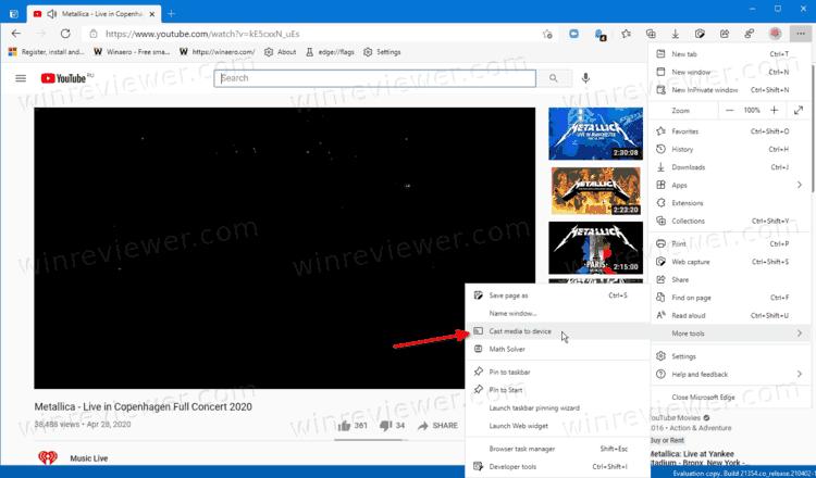 Как запустить трансляцию на телевизор в Microsoft Edge