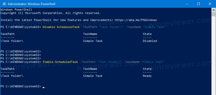 PowerShell Enable Scheduled Task