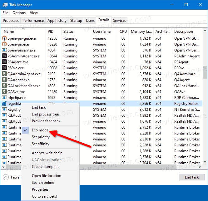 Windows 10 Enable Eco Mode On Details Tab