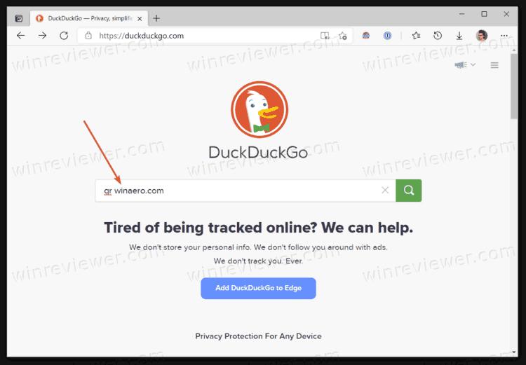создать QR-код для любого сайта с помощью DuckDuckGo