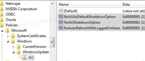 Disable Update And Shutdown With A Registry Tweak