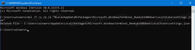 сбросить настройки Windows Terminal в Windows 10