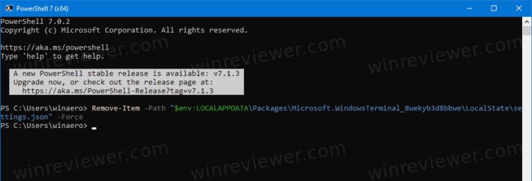восстановить настройки по умолчанию в Windows Terminal с помощью PowerShell