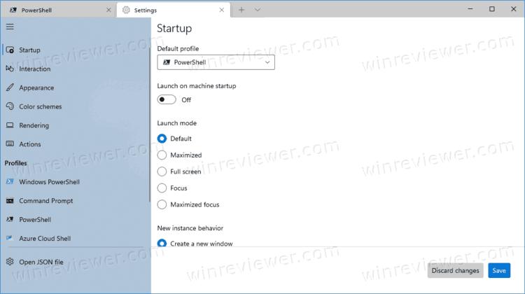 настройки приложения Windows Terminal