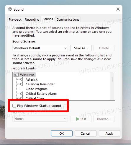 отключить звук запуска Windows 11