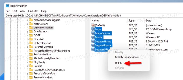 Удалить OEM инфо о поддержке в Windows 11