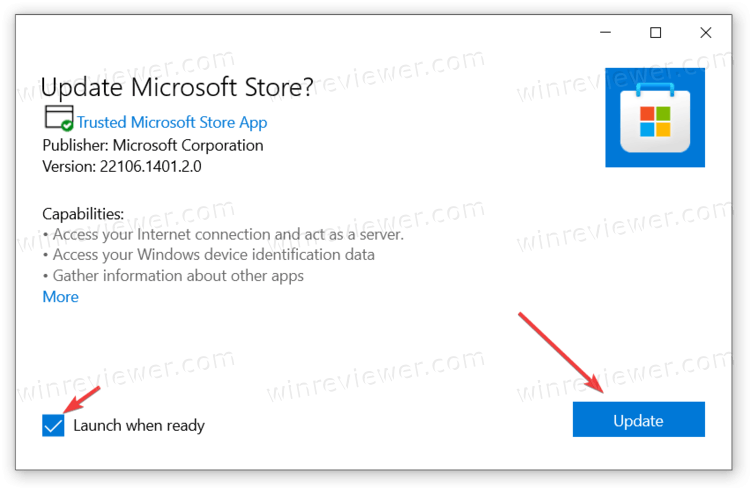 обновить Microsoft Store вручную