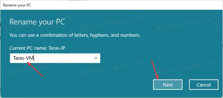 Переименовать компьютер в Windows 11