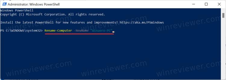 Переименуйте компьютер с Windows 11 с помощью PowerShell
