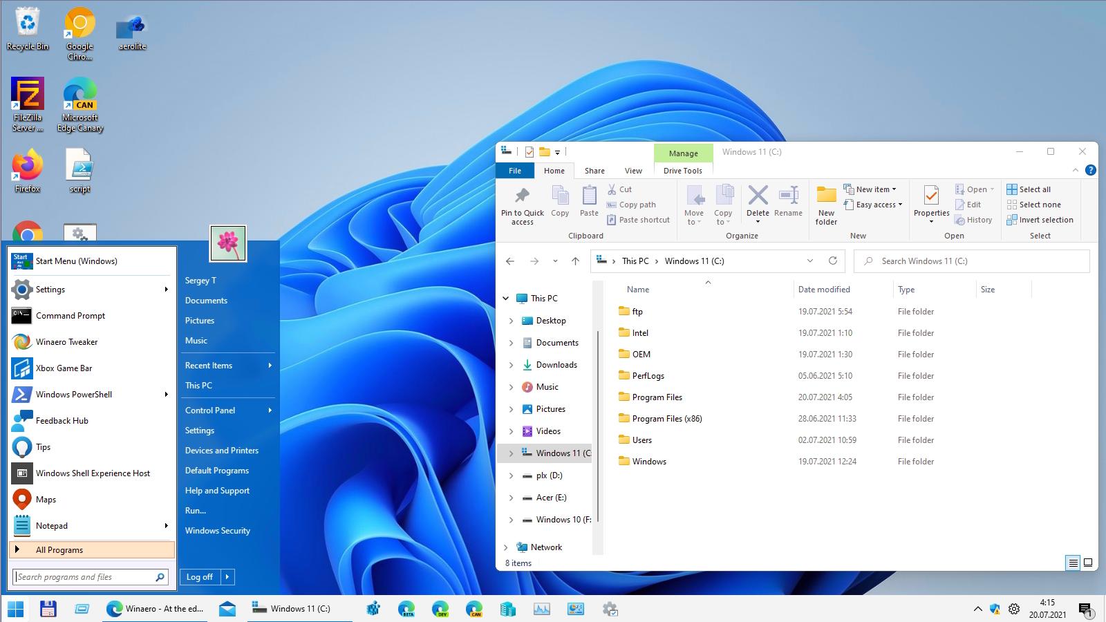 Как в Windows 11 восстановить классическое меню Пуск