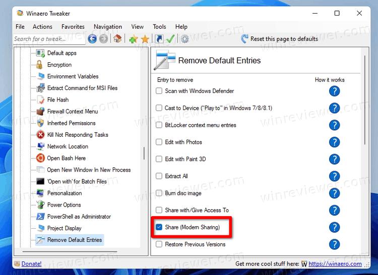 Включение ленты в проводнике Windows 11 с помощью Winaero Tweaker
