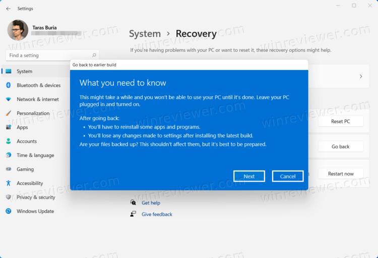 Откатить Windows 11