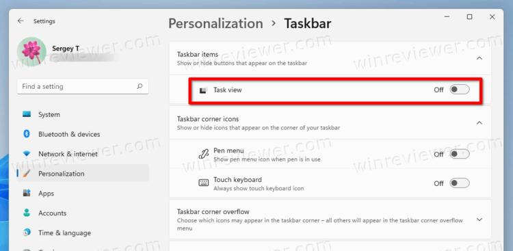 Remove Task View Button