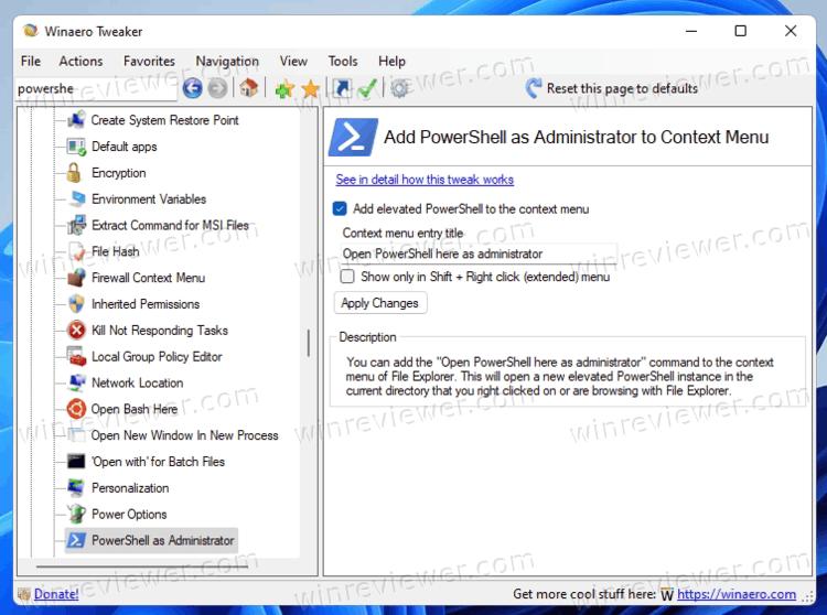 Добавить PowerShell от администратора в меню