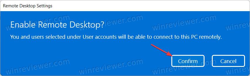 Подтвердите включение RDP в Windows 11