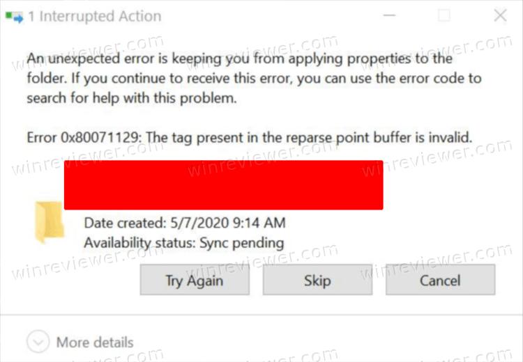 ошибка OneDrive 0x80071129
