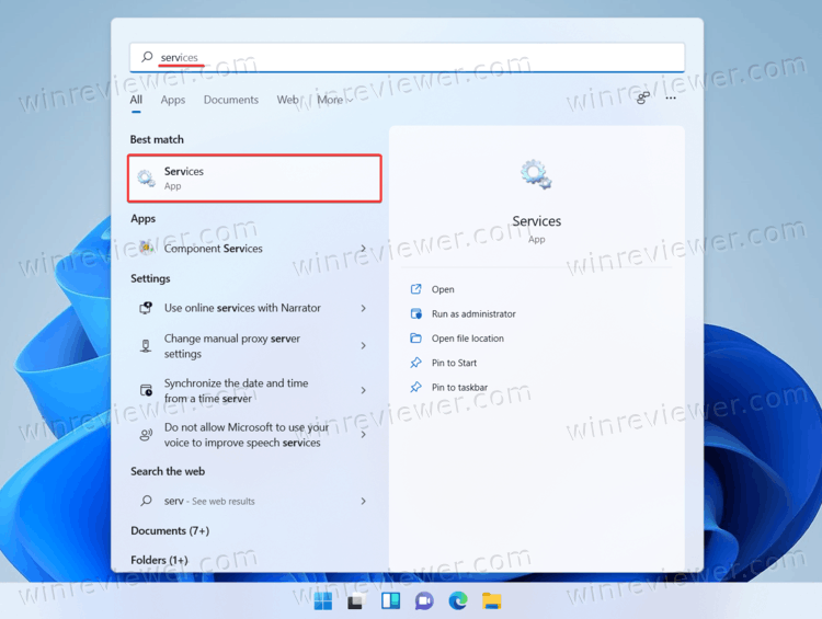 Открыть службы Windows 11 из поиска