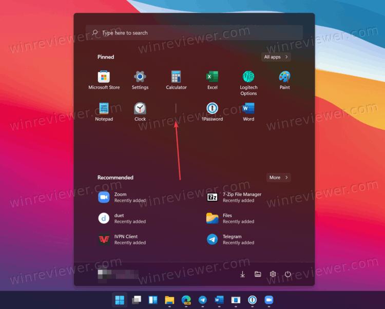 Windows 11 добавить разделитель в меню Пуск