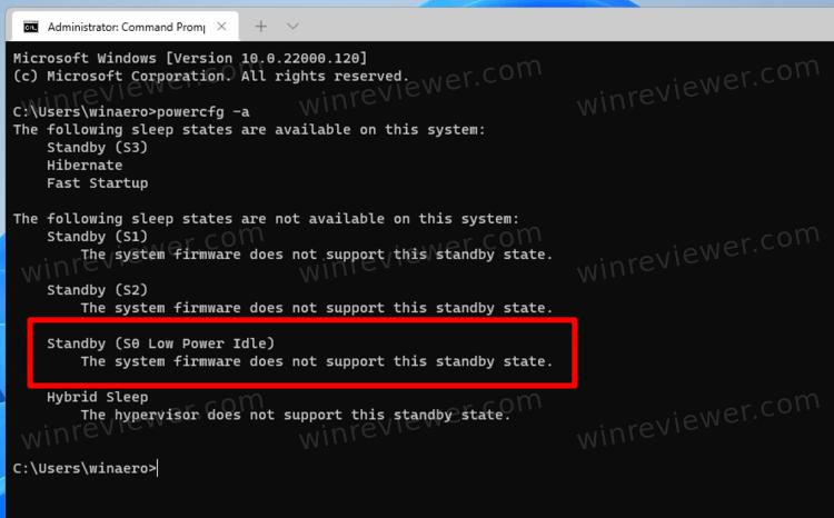 поддержка modern standby в Windows 11