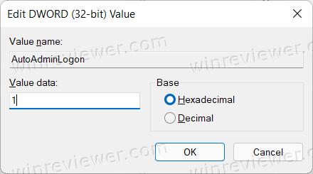 Твик реестра Windows для входа без пароля