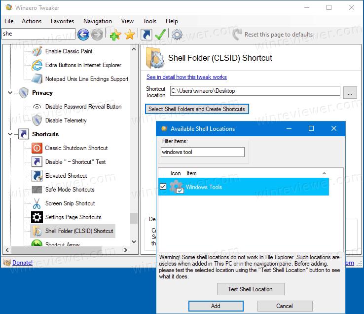 Windows Tools ярлык с помощью Winaero Tweaker