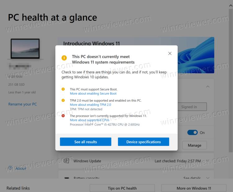не соответствует требованиям Windows 11